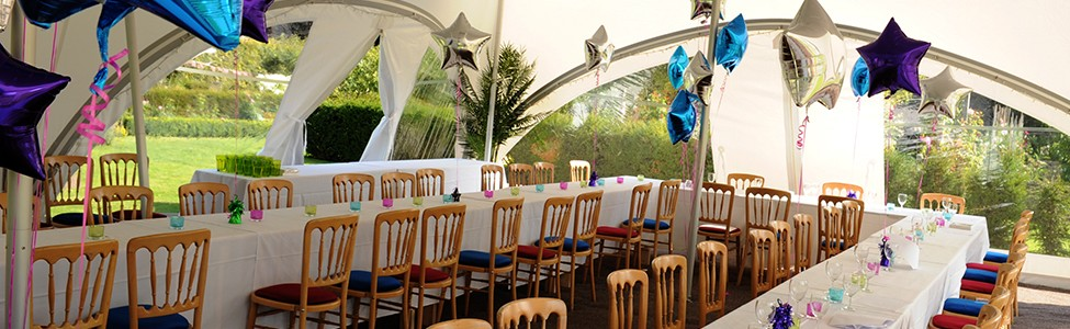garden party marquee balloons