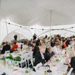 Wedding party in a trapeze marquee from Marston moor marquee hire