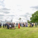Wedding guests at oak Tree Farm wedding venue