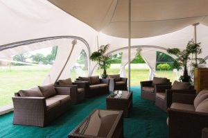 Quiet space inside a marquee