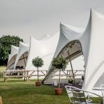 Marquees with open sides before the wedding party arrives