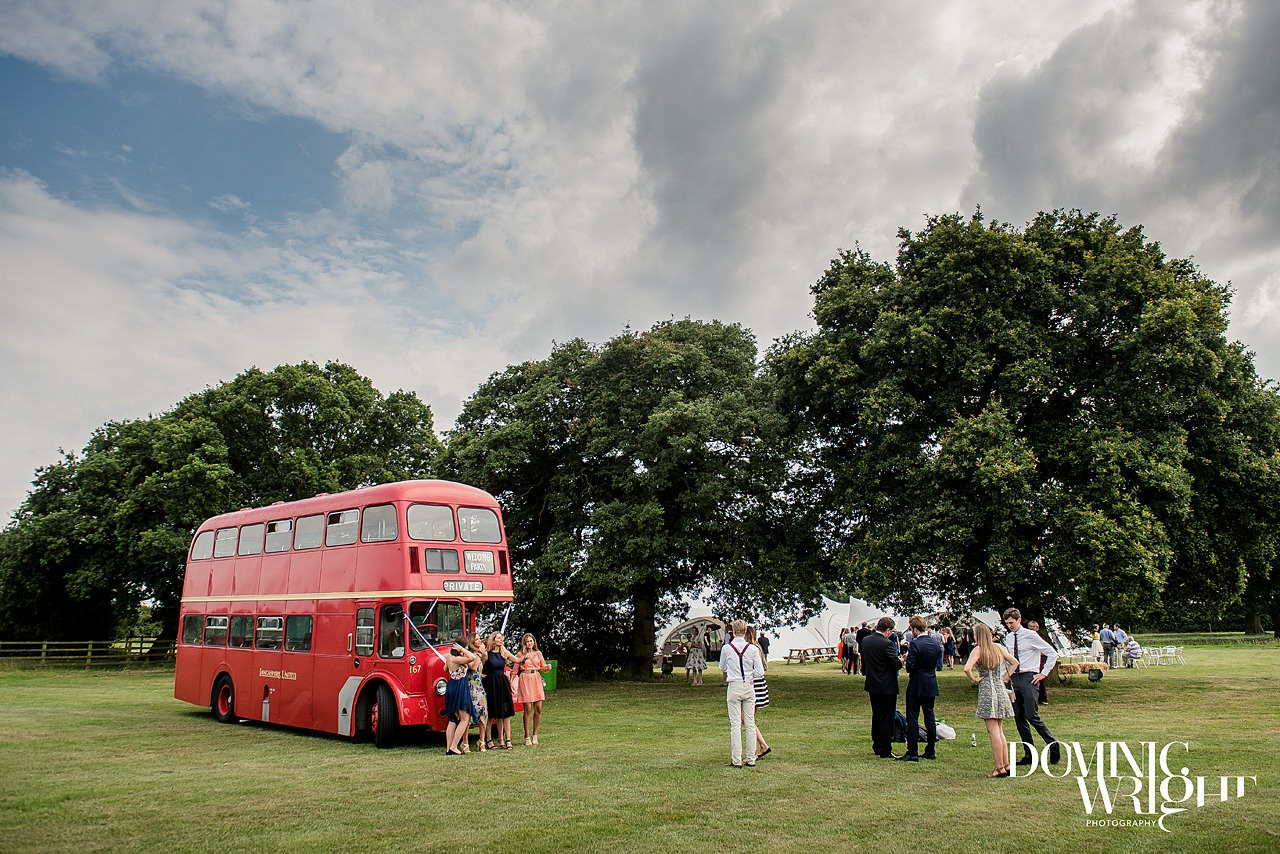 Red double decker bus for the wedding party