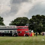 Two buses that brought the guests to a rural wedding venue