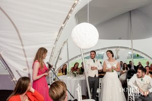 wedding reception in a marquee