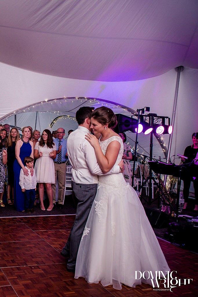 First dance in the wedding marquee