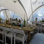 Blue and white christening in a marquee