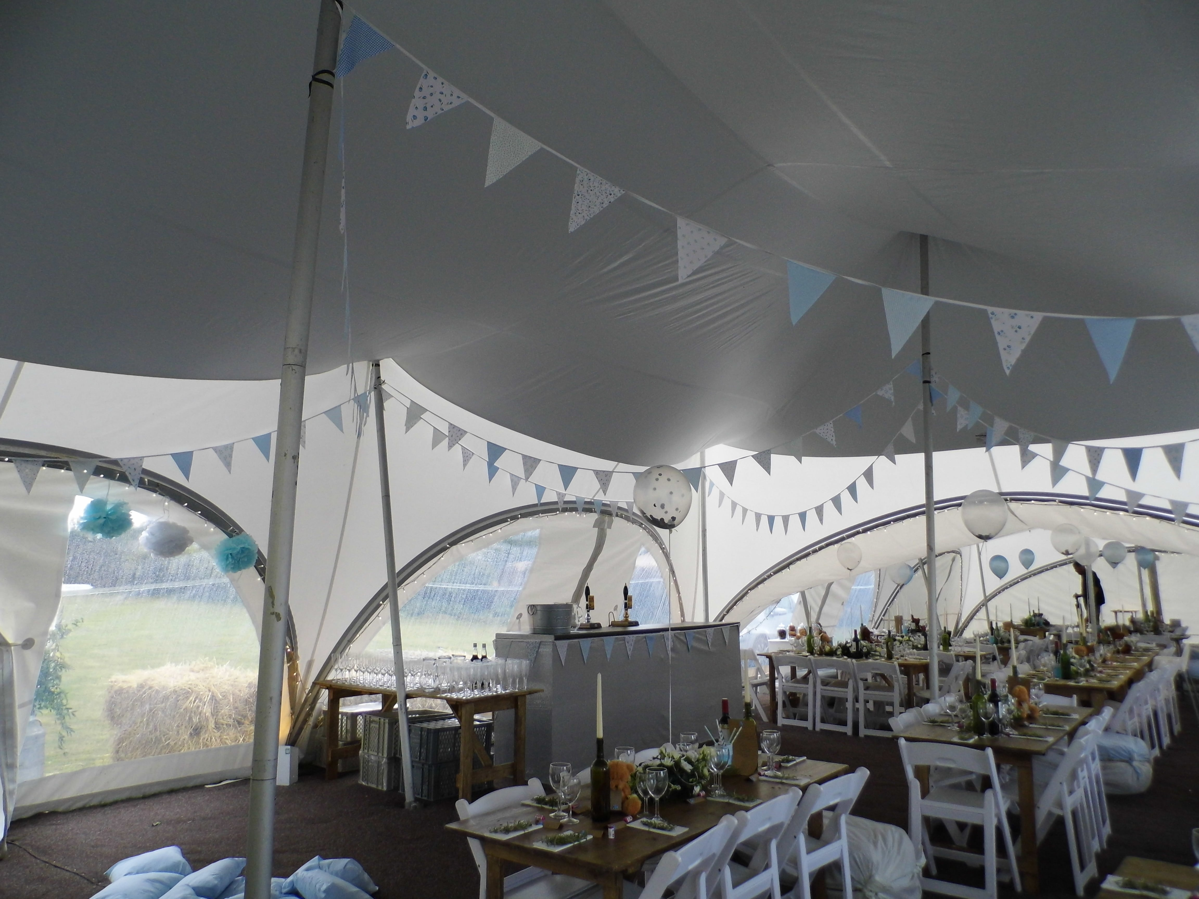 blue and white wedding theme in a marquee