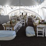 blue and white wedding marquee