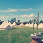 tented village accommodation for a rural wedding
