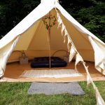 Bell tent being dressed as a honeymoon suite