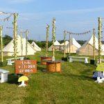 Tented village for wedding guests at Oak tree farm wedding venue