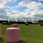 Marquees in front of Elmley Mast