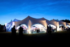 Marston moor wedding marquee lit up in the evening