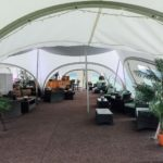 Relaxing greens in the bar area in a marston moor marquee