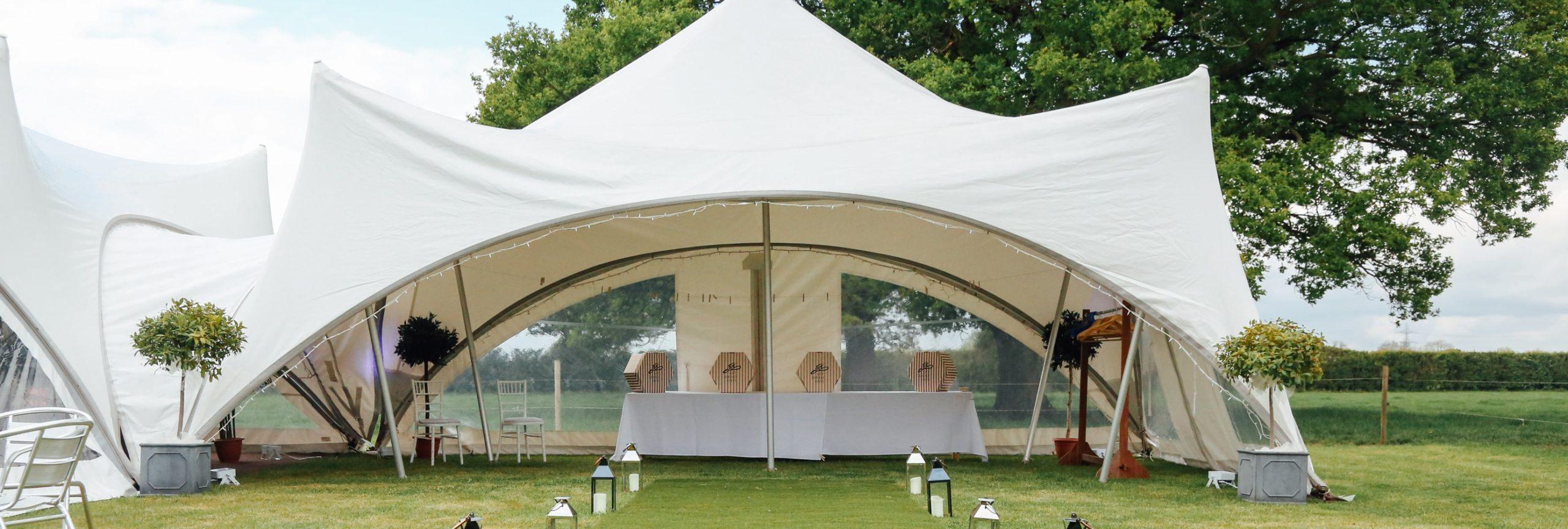 Oak tree farm wedding venue marquee